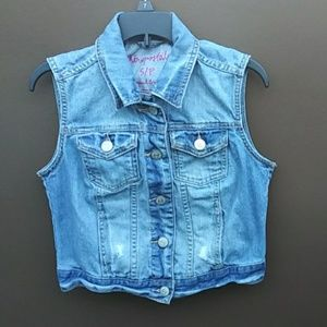 Aeropostale | Women Destroyed Denim Jean Vest Sz S